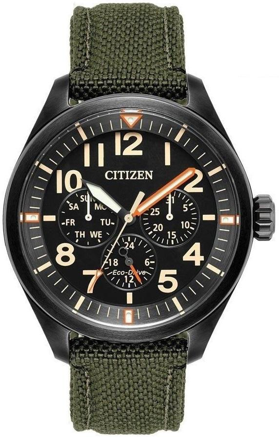 Citizen Eco Drive BU2055-16E Black Ion Plated Green Nylon Day Date Men's Watch