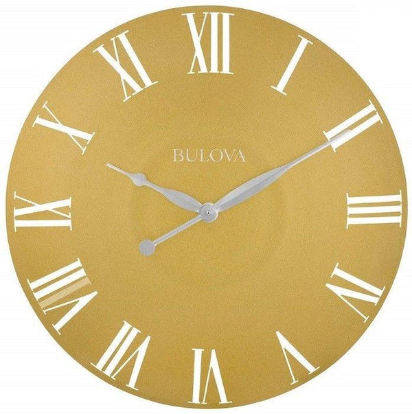 "Bulova Lexington C4870 Gold Tone Antique Curved Metal Case 24"" Round Wall Clock"
