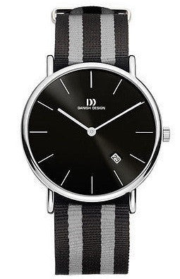 Danish Design IQ13Q1048 SS Case Nylon Strap Black Dial Men's Watch