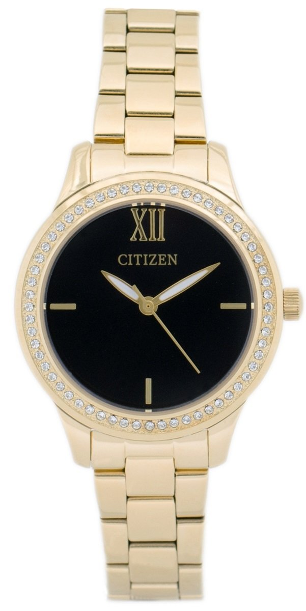 Citizen EL3088-59E Black Dial Swarovski Crystals Gold Tone Steel Women's Watch