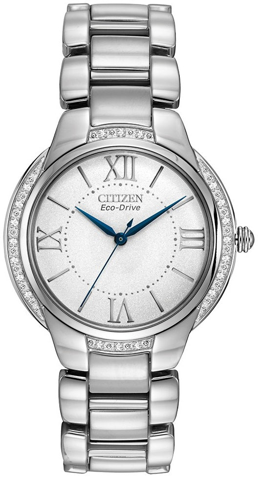 Citizen Eco Drive EM0090-57A Stainless Steel Diamond Accented Bezel Women's Watch