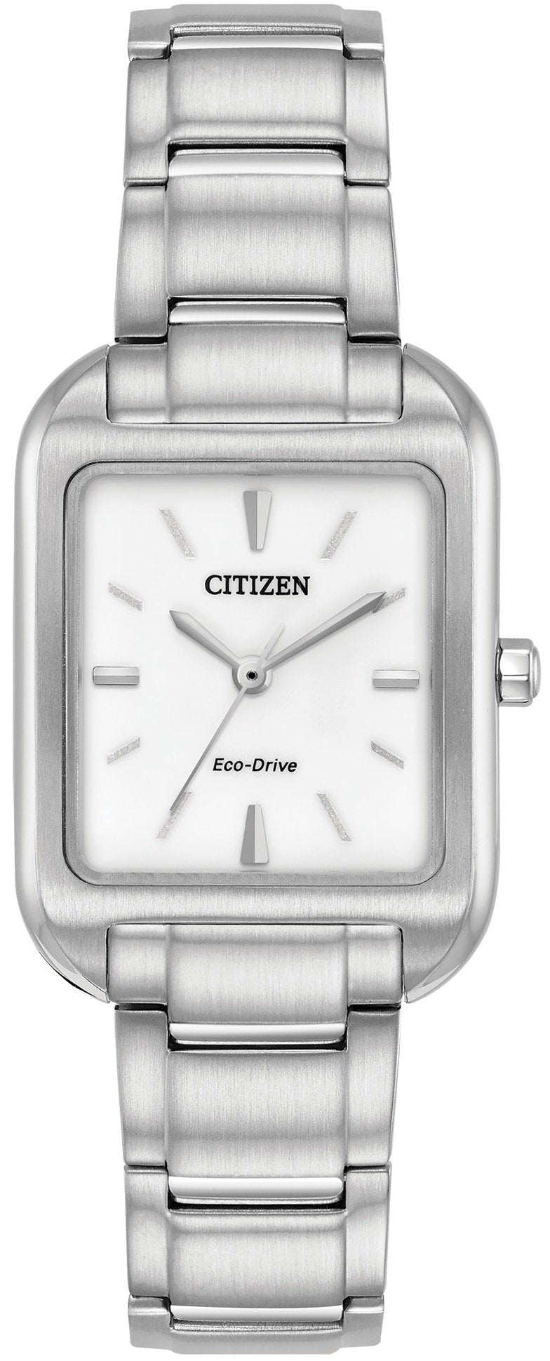 Citizen Eco Drive EM0490-59A White Dial Stainless Steel Rectangle Women's Watch