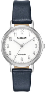 Citizen Eco Drive EM0570-01A White Arabic Dial Blue Leather Casual Women's Watch
