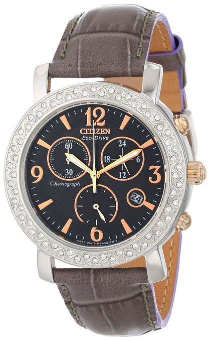 Citizen Eco Drive FB1298-05H Chronograph Black Dial Crystal Bezel Women's Watch