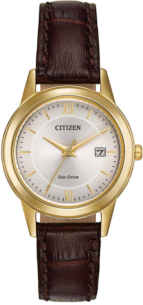 Citizen Eco Drive FE1082-05A Gold Tone Steel Brown Leather Women's Watch - Sarasota Watch Company
