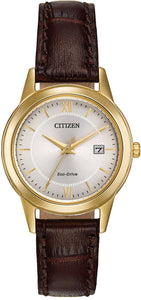 Citizen Eco Drive FE1082-05A Gold Tone Steel Brown Leather Women's Watch