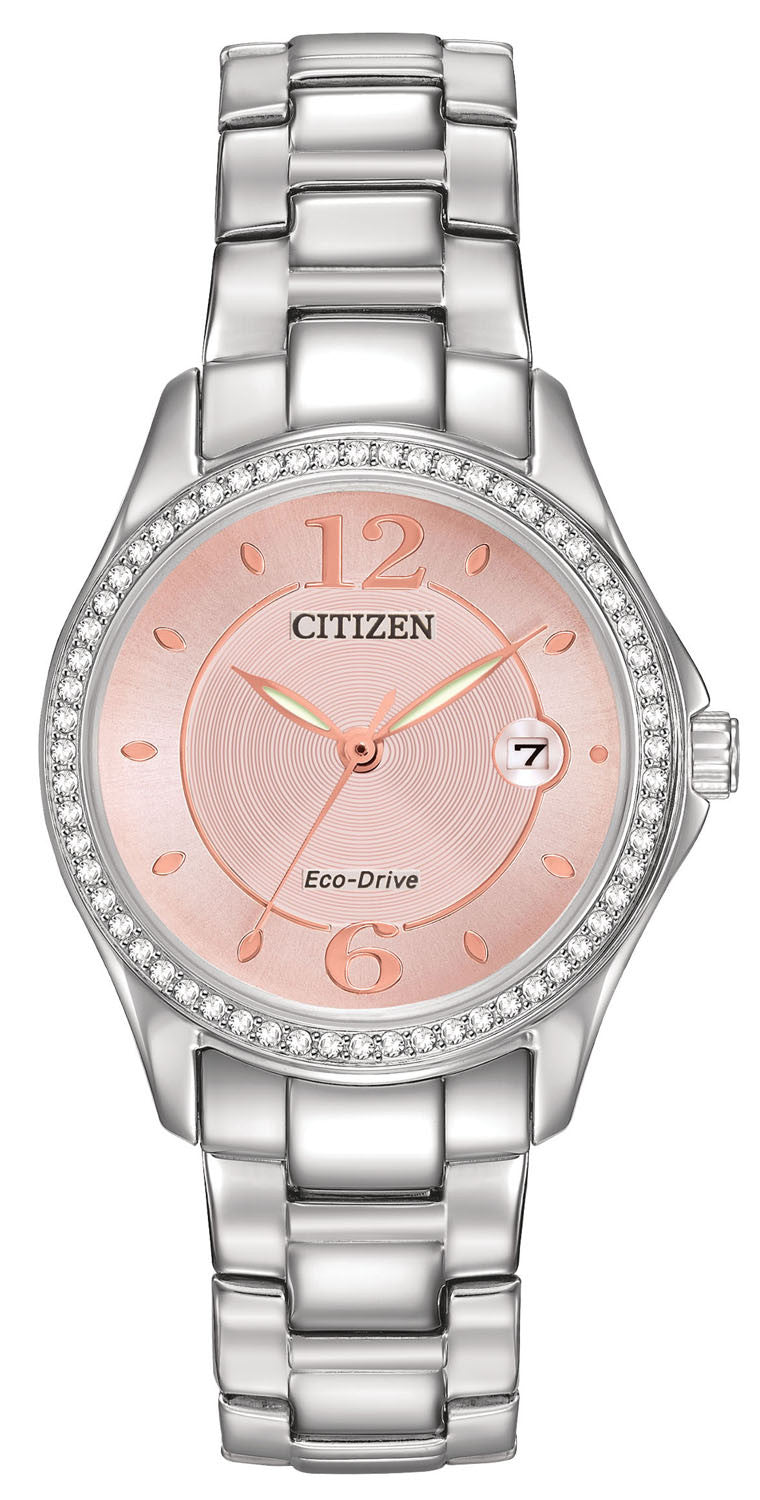 Citizen Eco Drive FE1140-86X Blush Pink Dial Crystal Bezel Stainless Steel Women's Watch