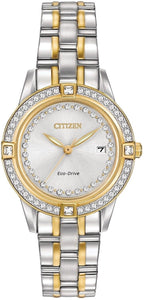 Citizen Eco Drive FE1154-57A Two Tone Steel Crystal Accented Women's Watch