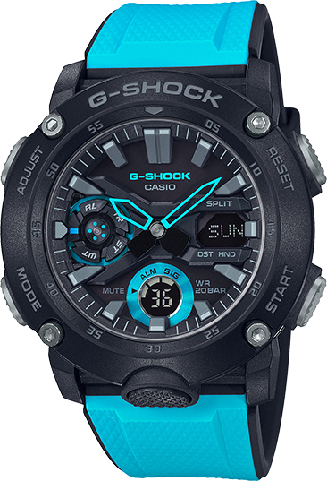 Casio G-Shock GA-2000-1A2CR Blue/Black Resin Multi Function 200M Wrist Watch