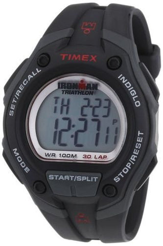 Timex T5K417 IronMan Indiglo Light Black Reisn Band & Case Men's Watch