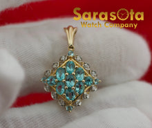 "14k Yellow Gold Multi Color Gem Stones Diamonds Topaz Design 1"" Pendant"