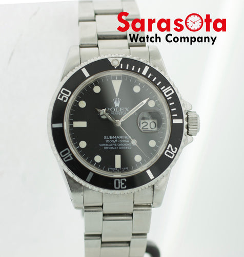 Vintage Rolex Submariner 16800 Stainless Steel Black Dial 40mm 1984 Men's Watch