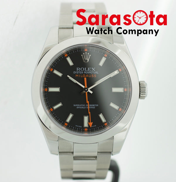Rolex Milgauss 116400 40mm Black Dial Oyster Steel Wrist Watch 2009 W/B/P