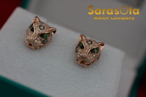 EFFY Signature Panther Diamond & Tsavorite Stud Earring's 14k Rose Gold 0.55CTW