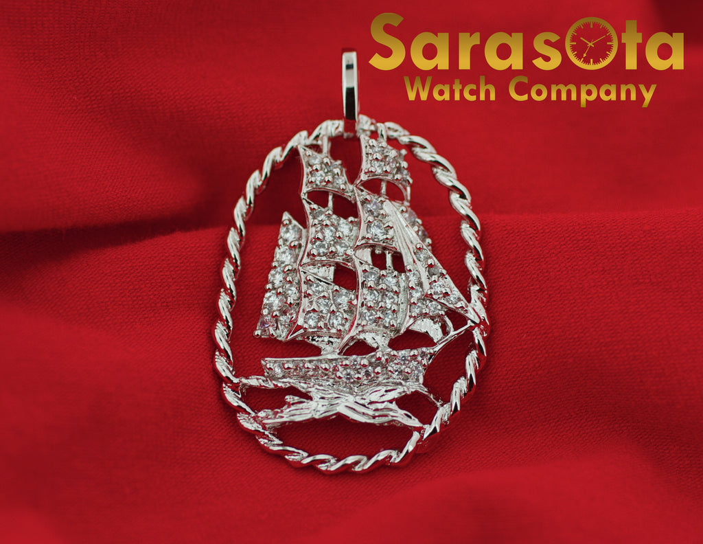 Sterling Silver 925 Polish Cubic Zirconia Pirate Ship Nautical Pendant - Sarasota Watch Company