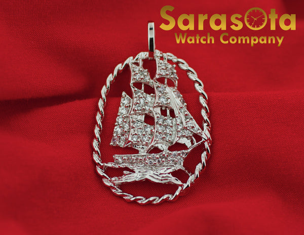Sterling Silver 925 Polish Cubic Zirconia Pirate Ship Nautical Pendant