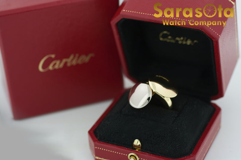 Cartier Three Color 750 Yellow/White/Rose Gold Modernist Size 6 Ladies Ring