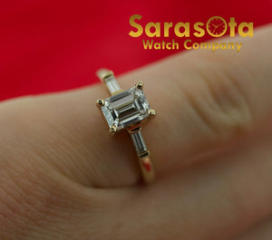 14KYG 1.05Ct Emerald Cut G-SI1 Engagement Ring 4.75 GIA Certified Loose Diamond