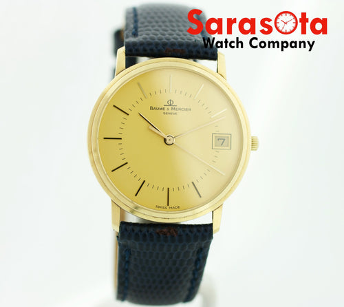 Baume&Mercier 95712 14K Gold Swiss 32mm Leather Date Quartz Dress Wrist Watch