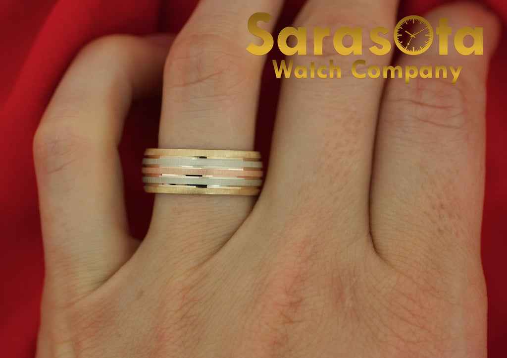 14K Three Color Gold 7.75mm Wide Brushed Finish Wedding Band Ring Size 9 Jewelry - Sarasota Watch Company