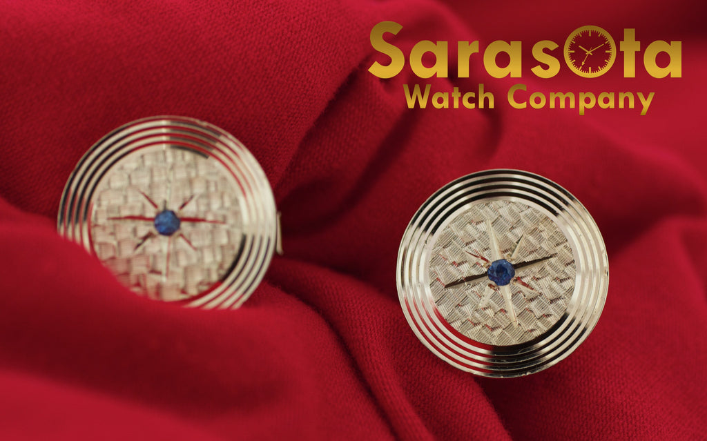 14K Yellow Gold Round 19mm Disc Sapphire Stone Men's Cufflinks - Sarasota Watch Company