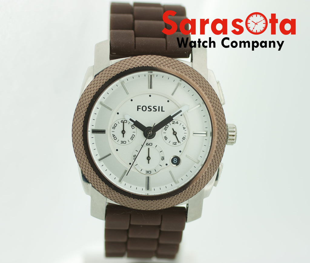 Fossil FS-4596 Chronograph Brown Rubber Date 46mm Silver Dial Quartz Mens Watch - Sarasota Watch Company