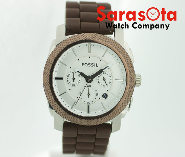 Fossil FS-4596 Chronograph Brown Rubber Date 46mm Silver Dial Quartz Mens Watch