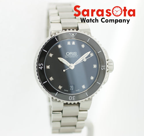 Oris Aquis Date 733-7652-4194MB Black Diamond Dial Stainless Steel Ladies Watch