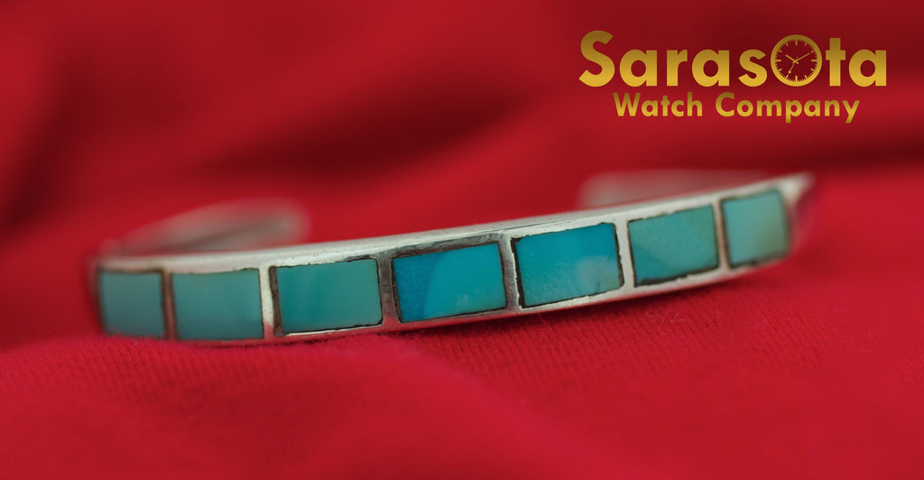 "Vintage Native American Sterling Silver Turquoise 5.75"" Cuff Bracelet - Sarasota Watch Company"