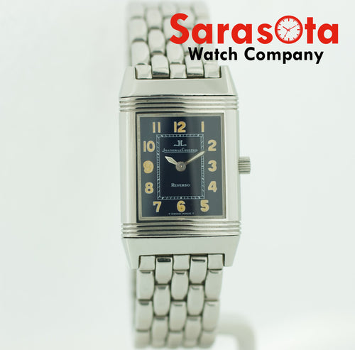 Vintage Jaeger-LeCoultre Reverso Blue Dial Stainless Steel Quartz Women's Watch