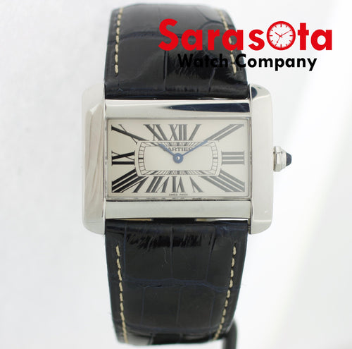 Cartier 2600 Tank Divan Stainless Steel Navy Crocodile Swiss Quartz Wrist Watch