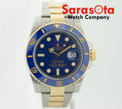 Rolex Submariner 116613 Blue Ceramic Two Tone 40mm 2009 Men's Watch w/Box