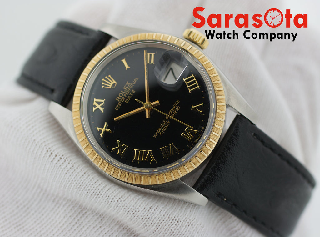 Vintage Rolex Date 1505 Two Tone Black Roman Dial Leather Automatic Wrist Watch - Sarasota Watch Company