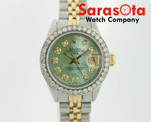 Authentic Rolex Date 6917 Two Tone Green MOP Diamond Dial&Bezel Women's Watch