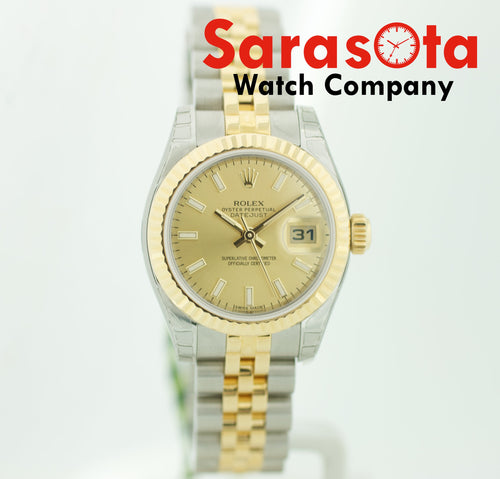 BRAND NEW Rolex Datejust 179173 Champagne Dial Two Tone 18K/Steel Women's Watch