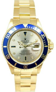 Rolex Submariner 16618 Gray SERTI Dial 18K Yellow Gold W/B 2002 Men's Watch