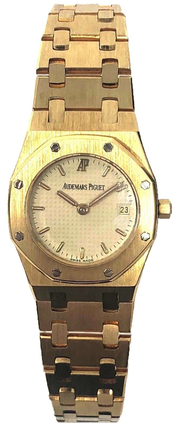 Rare Vintage Audemars Piguet Royal Oak N.4696 18K Gold Quartz 25mm Wrist Watch