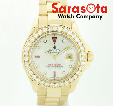 Rolex Yacht-Master 16628B 18k Solid Gold MOP Ruby Dial Men's Watch 2001 w/Box