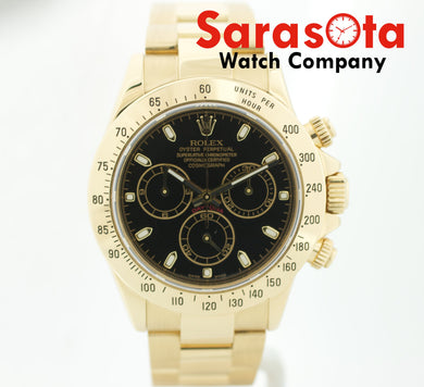 Rolex Daytona 116528 Chronograph 18k Gold Black Dial Men's Watch 2006 w/Box
