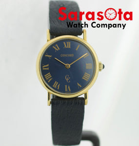 Vintage Concord 14k Yellow Gold Blue Roman 24mm Round Hand Winding Women's Watch