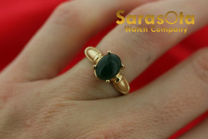 10k Yellow Gold Oval 8 mm Green Gem Stone Size 6 Ladies Ring