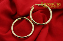 14k Yellow Color Gold 38mm Lever Back Hoops Women's Earring's Lightweight