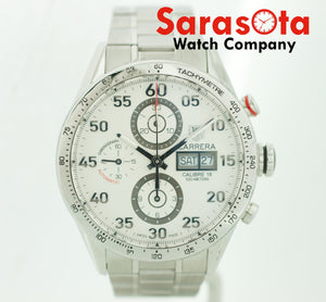 Tag Heuer Carrera CV2A11 Stainless Steel White Dial Chrono Auto Mens Watch w/box