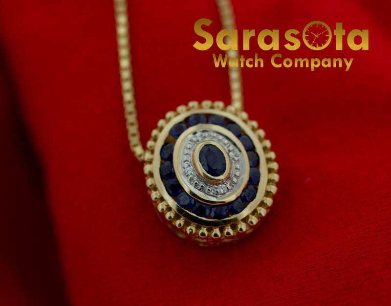 14k Yellow Gold 1ctw Sapphire Diamonds Oval Pendant Box Chain Women's Necklace