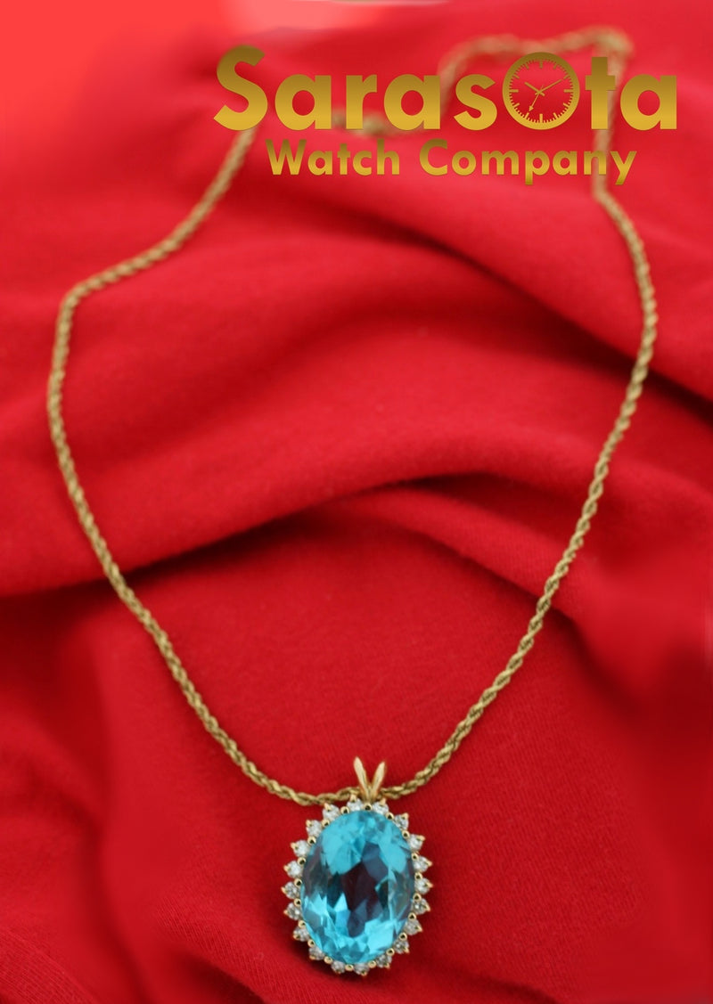 "14k Yellow Gold Oval Halo Blue Topaz Diamonds Pendant Rope Chain 18"" Necklace"