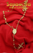 "14k Yellow Gold Rosary 4 mm Bead Virgin Mary  Crucifix Jesus Cross 23.5"" Necklace"