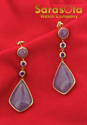 14K Yellow Gold Lavender Quartz & Amethyst Drop Stud Women's Earring's