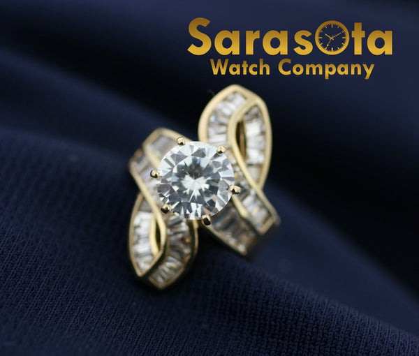 10k Yellow Gold Engagement 3Ct Round CZ Baguette Women's Ring Size 5