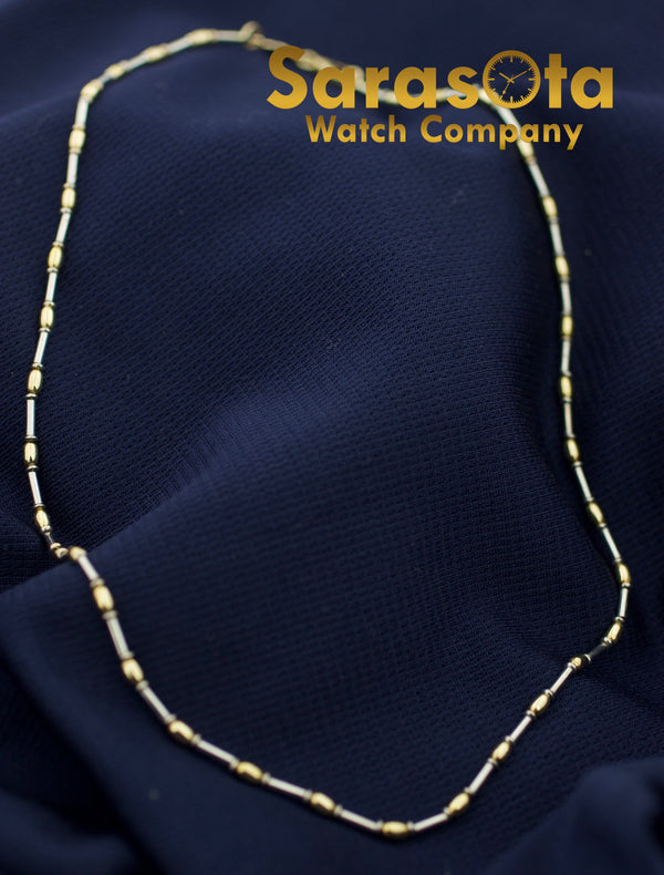 "14K Yellow White Gold Two Tone ITALY Polish 16"" Beads Chain Women's Necklace"