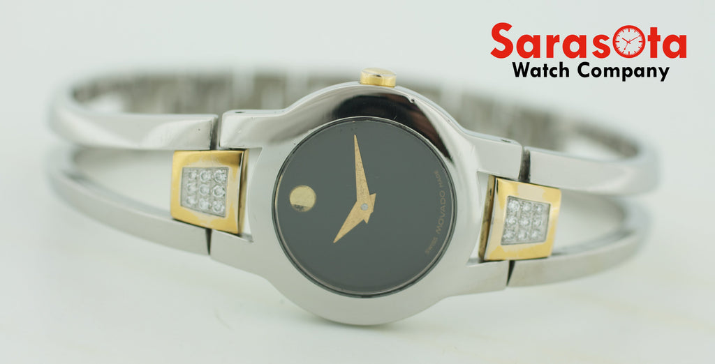 Movado 81 E4 1842 Black Dial Diamonds Two Tone Bangle Swiss Quartz Women's Watch - Sarasota Watch Company